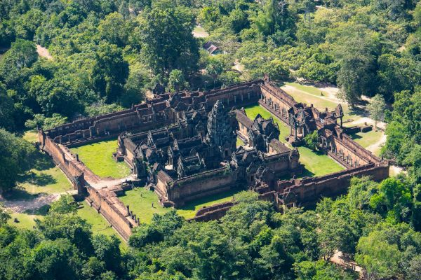 Ancient geometric temple ruins seen from above